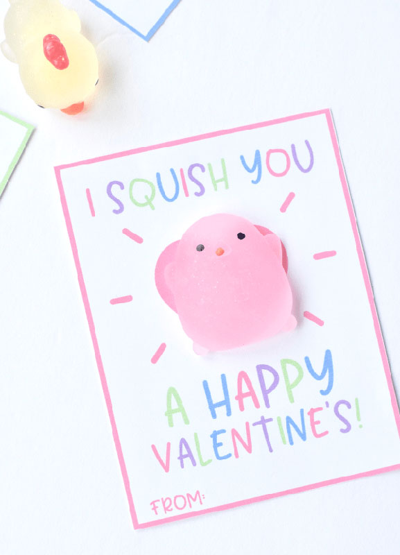 """valentines day card ideas: """"I squish you"""" printables with squishy toys"""