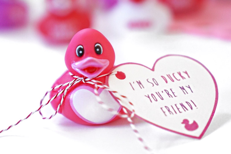"""valentines day card ideas: rubber duck toy with printable wrapped around him saying """"I'm so ducky you're my friend"""""""