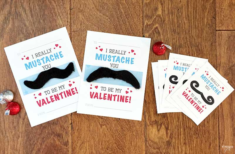 """valentines day card ideas: mustache stickers for face with printable card """"I really mustache you to be my valentine"""""""