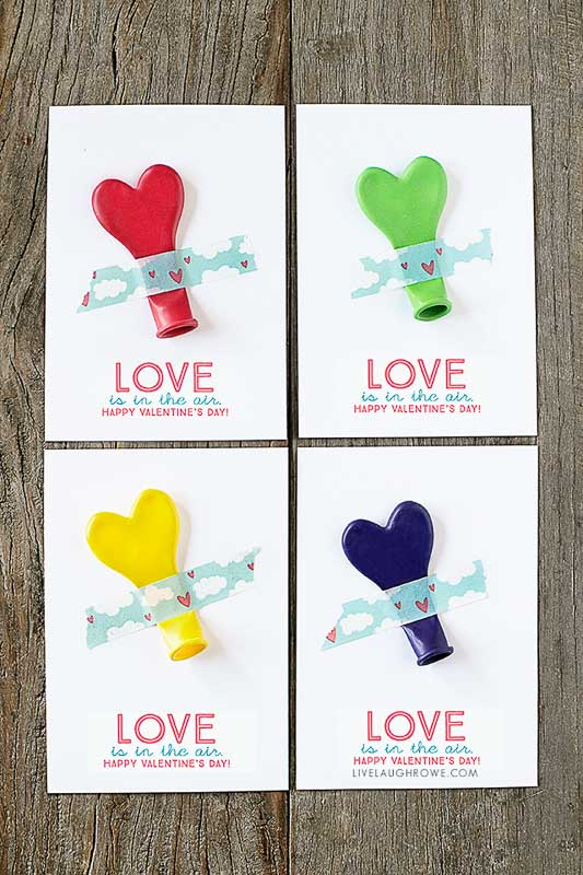 """BEST *Non-Candy* Free Printable Valentines Day Card Ideas for Kids: heart balloon printables """"love is in the air"""""""