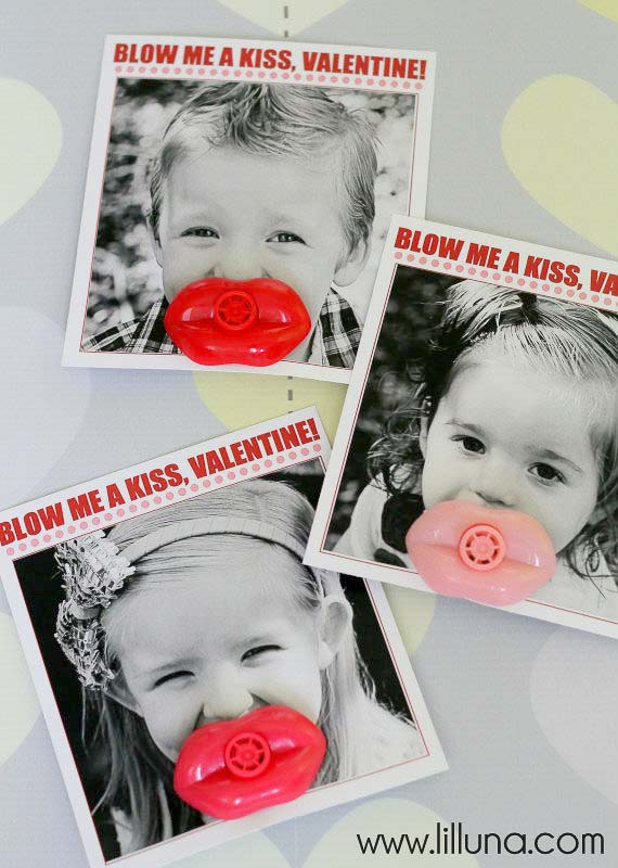 """valentines day card ideas: whistle toy shaped like lips; printable card """"blow me a kiss, valentine"""""""