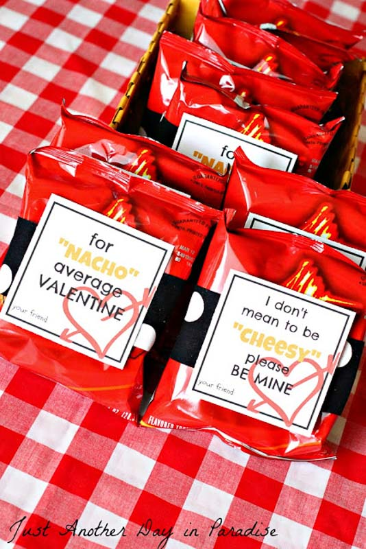 """valentines day card ideas: printable """"for nacho average valentine"""" or """"i don't been to be cheesy, please be mine"""" for bags of nacho chips"""