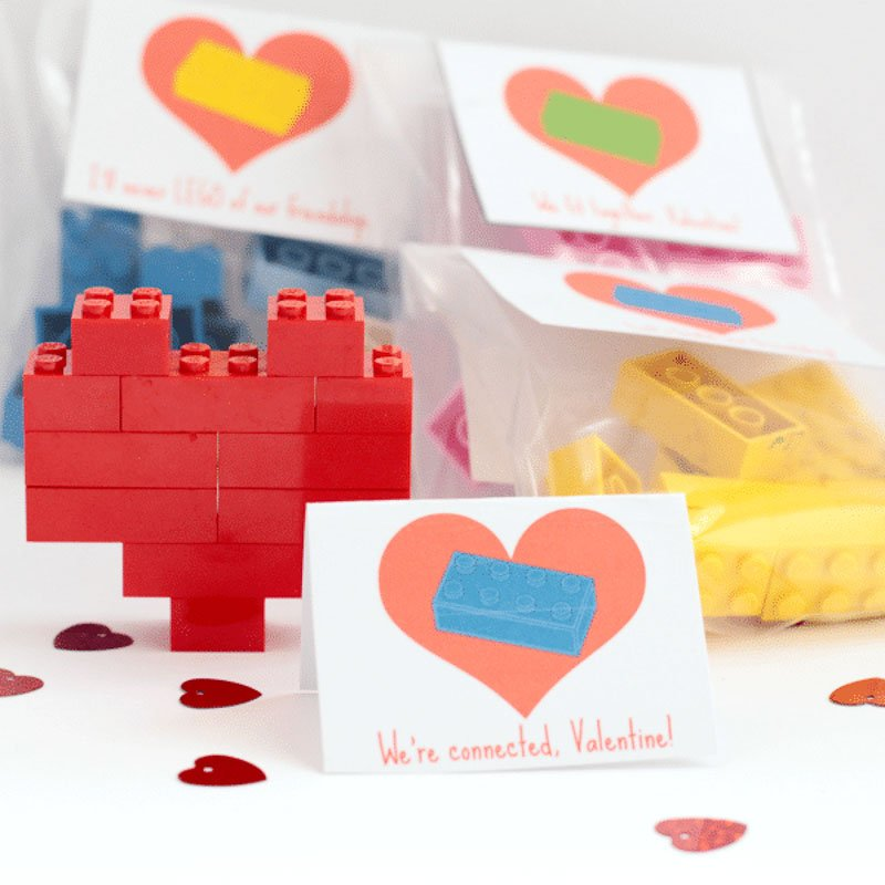 valentines day card ideas: lego packets to make mini hearts with printable card