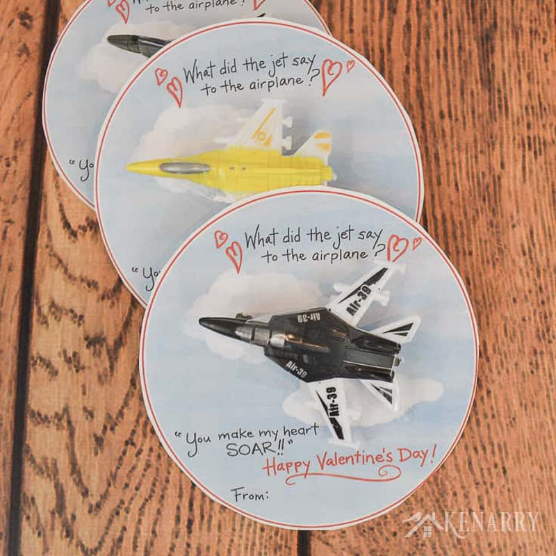 """valentines day card ideas: mini jet toy """"what did the jet say to the airplane? you make my heart soar! happy valentine's day"""""""