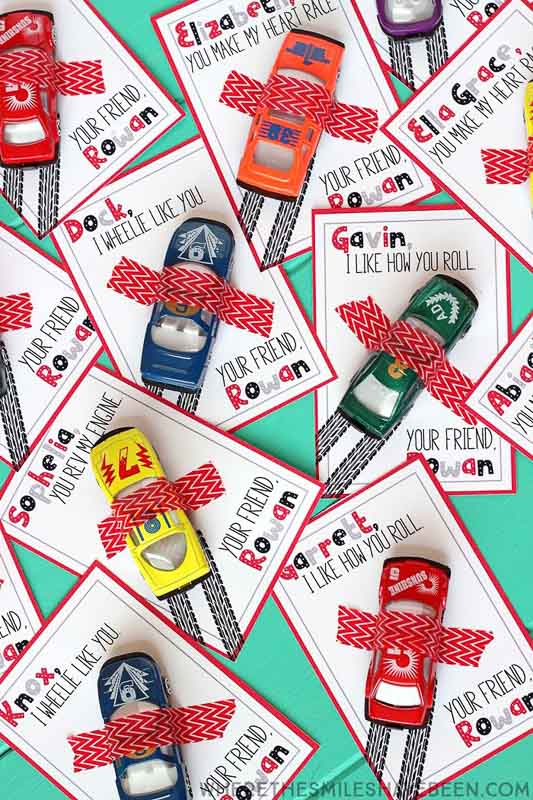 """valentines day card ideas: matchbox cars washi taped to printable cards """"I like how you roll"""" or """"I wheelie like you"""" or """"you rev my engine"""""""