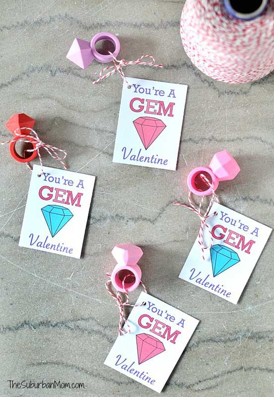 """valentines day card ideas: toy rings with attached card """"you're a gem valentine"""""""