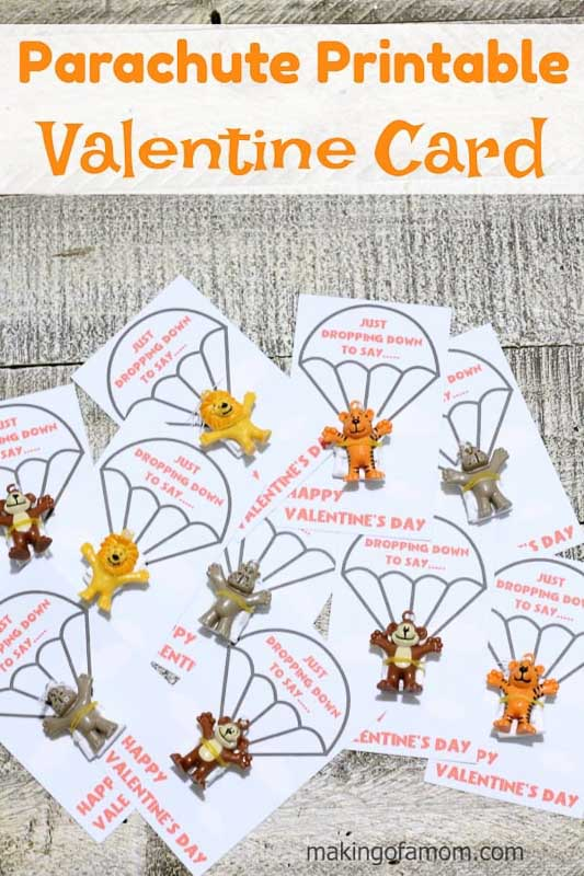 """BEST *Non-Candy* Free Printable Valentines Day Card Ideas for Kids: animal parachute toys """"just dropping down to say happy valentine's day"""" printables"""