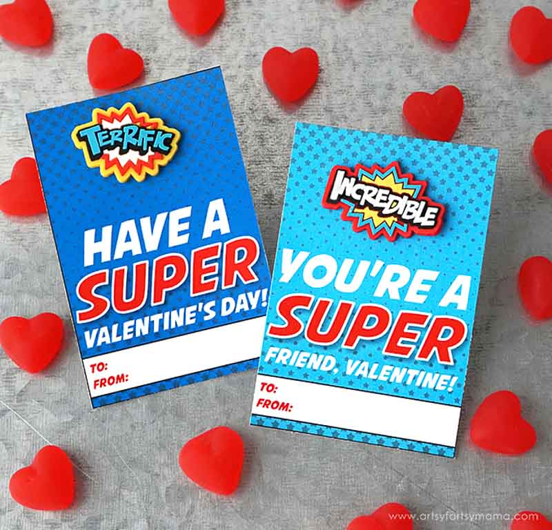 """BEST *Non-Candy* Free Printable Valentines Day Card Ideas for Kids: superhero eraser/rings with """"have a super valentines' day"""" or """"you're a super friend"""" printables"""