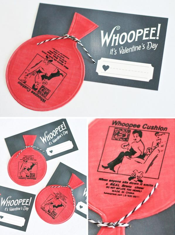 """BEST *Non-Candy* Free Printable Valentines Day Card Ideas for Kids: """"whoopee it's valentines day"""" whoopee cushion valentine"""