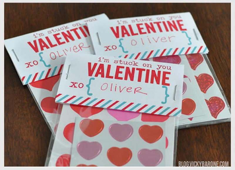 """BEST *Non-Candy* Free Printable Valentines Day Card Ideas for Kids: """"I'm stuck on you valentine"""" stickers"""