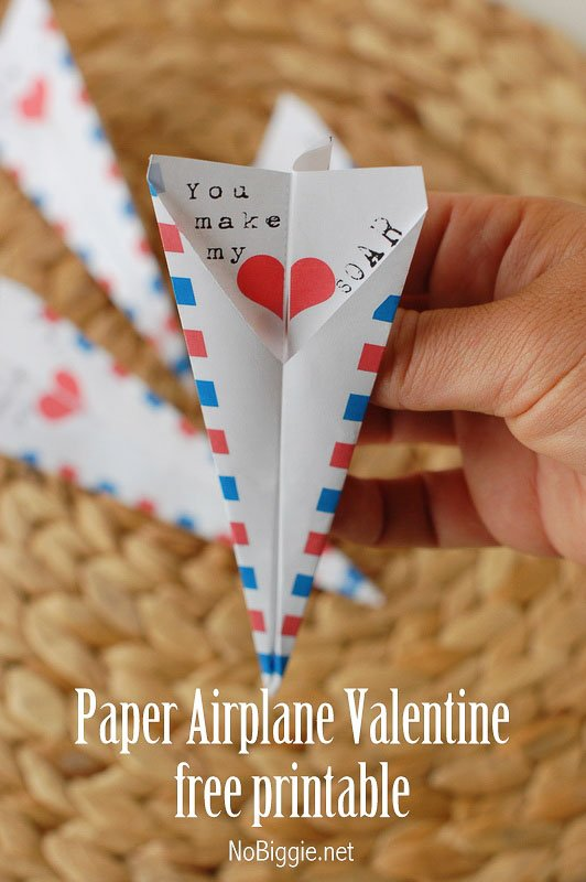 BEST *Non-Candy* Free Printable Valentines Day Card Ideas for Kids: printable paper airplane
