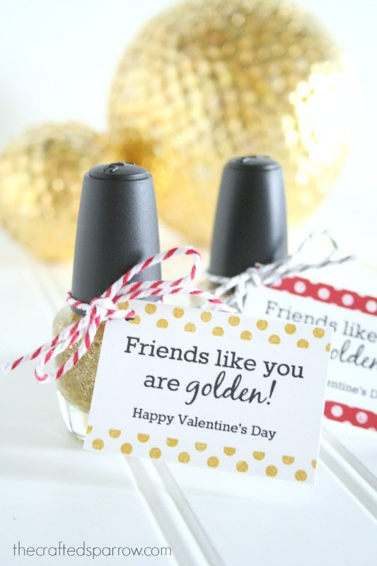 """BEST *Non-Candy* Free Printable Valentines Day Card Ideas for Kids: """"friends like you are golden"""" nail polish valentine"""
