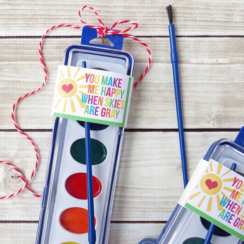 BEST *Non-Candy* Free Printable Valentines Day Card Ideas for Kids: painting kit valentine