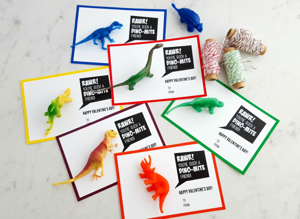 BEST *Non-Candy* Free Printable Valentines Day Card Ideas for Kids: dinosaur toys with accompanying colorful printables