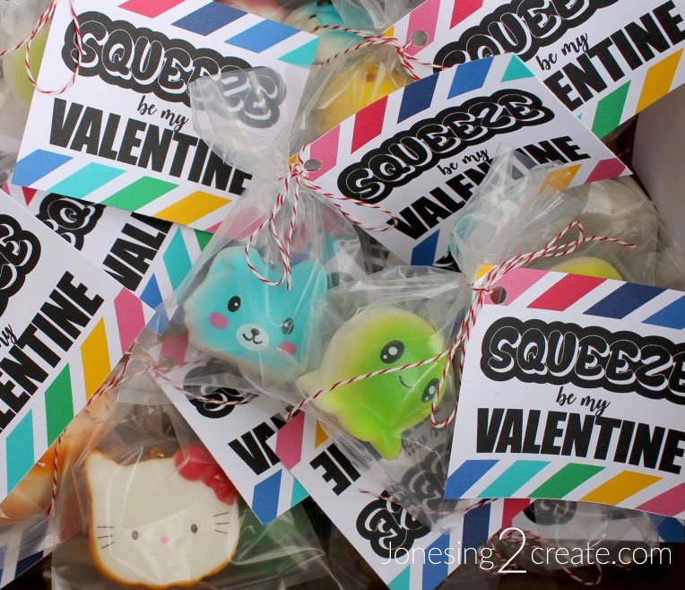 """valentines day card ideas: squishy toys with card """"squeeze be my valentine"""""""