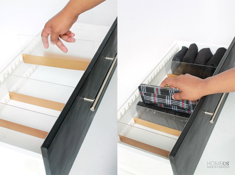 Closet Storage and Organizing Ideas: Adjustable DIY acrylic drawer divider project