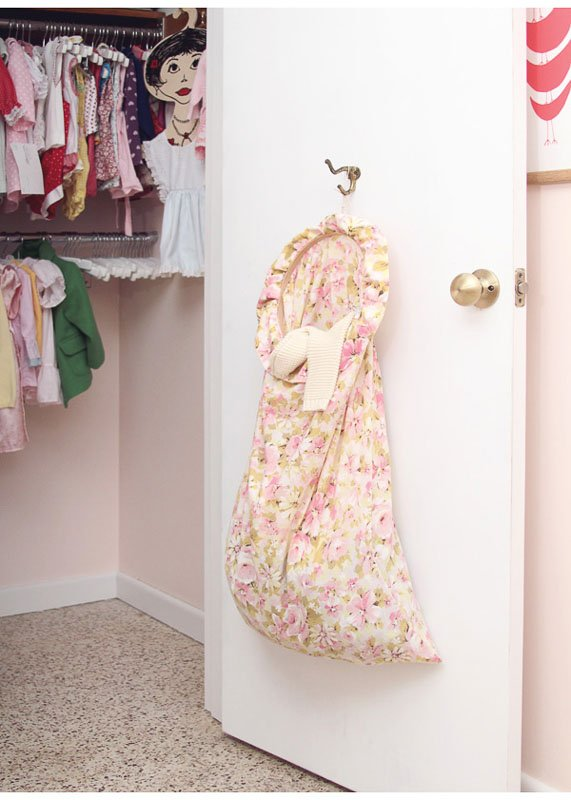 Closet Organizing Ideas: An easy DIY laundry bag to hang on the back of a closet door.