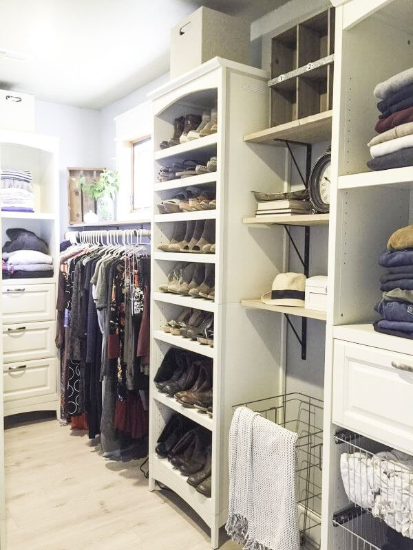 Closet Organizer Ideas: beautiful use of a closet system designed with a farmhouse look and feel