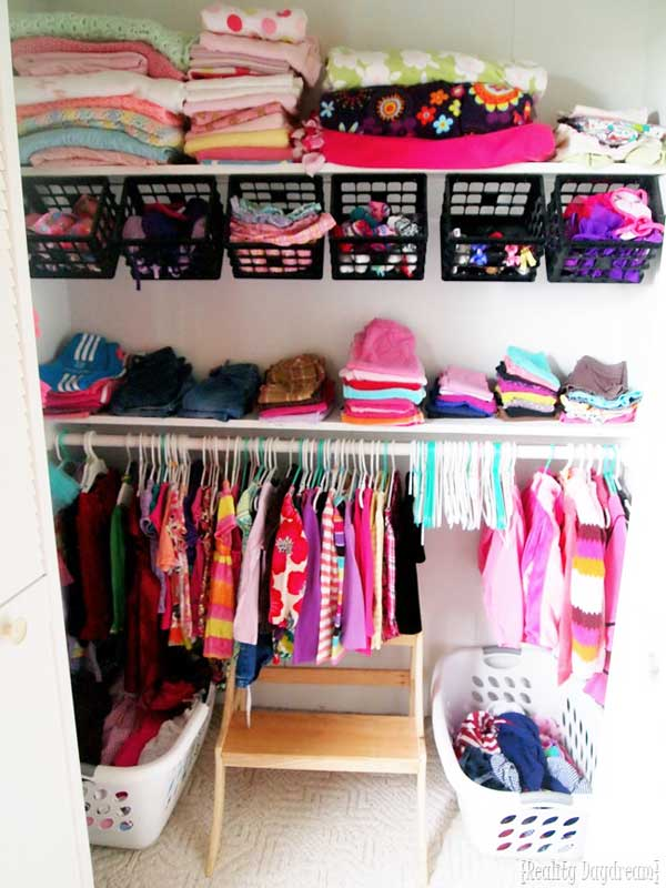Closet Organizer Ideas: bins for alllll the baby items!