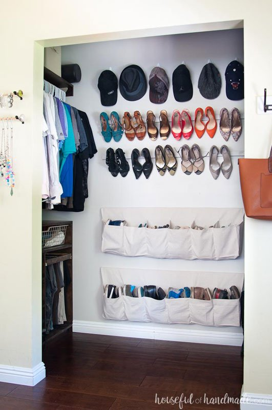 Closet Storage Ideas: Utilize that wall space! Hooks for hats, and hanging fabric storage pockets for shoes