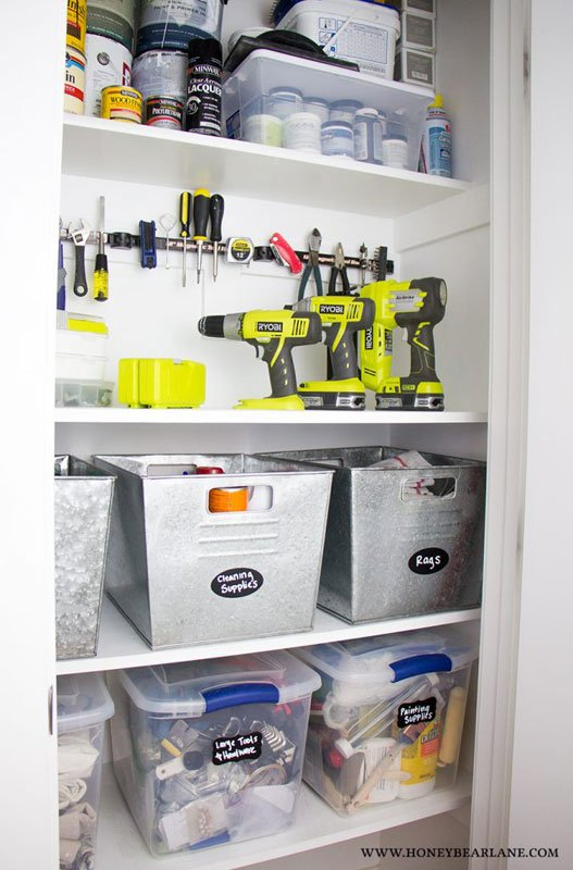 Closet Storage Ideas: Don't have a garage? Stash tools in a designated closet space