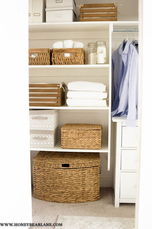 Closet Storage Ideas: wicker storage baskets for the win