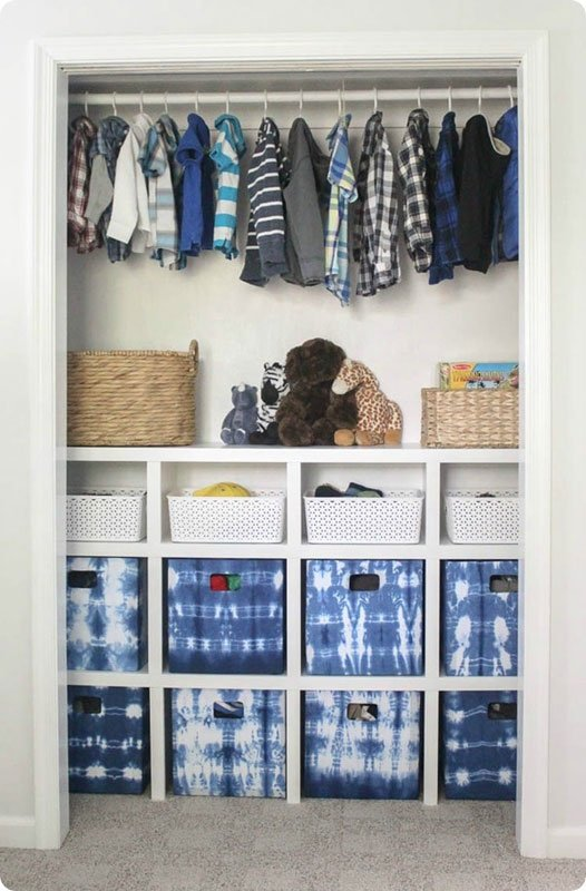 Closet Storage Ideas: Bins don't have to be blah! These shibori storage baskets are on point!