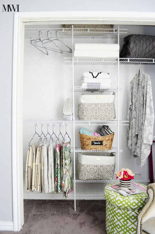 Closet Organization Tips: Small things slip through wire shelving. Use baskets or bins to keep the clutter controlled and allow for storage of small items. Double hanging bars doubles your hanging space!
