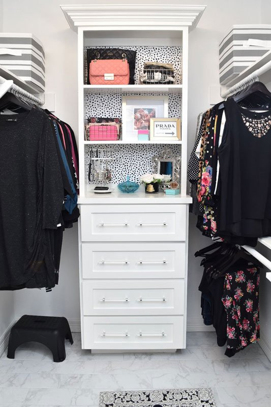 Closet Organization Tips: Double hanging bar doubles space. If you're short, keep a small stool in the closet to reach higher bars.