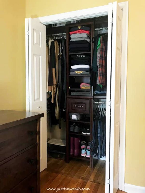 Closet Organization Tips: Open shelving or closed drawers? What makes more sense for your needs? And don't forget to double hang rods in small closets to maximize hanging area.