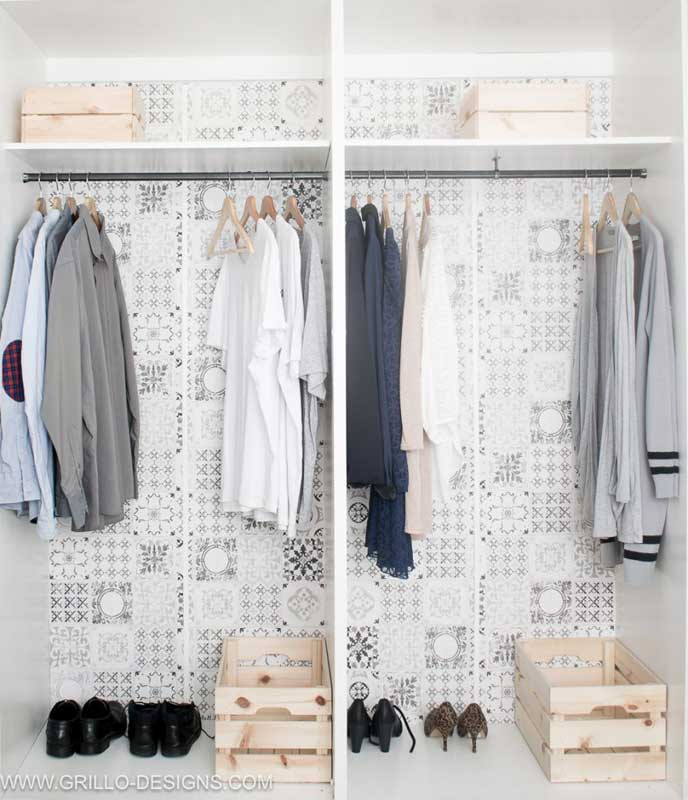 Have an old banged up Ikea wardrobe or other melamine closet system that needs an update? Medina shows you how she painted this one, the right way, and added accent wallpaper to give the closet a brand new look on a budget.
