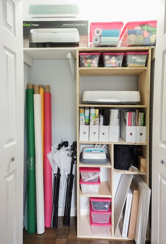 DIY wood closet system to organize a crafting closet with many odd shaped item.