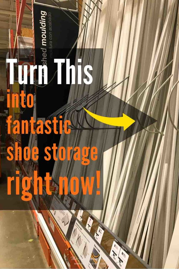 Need more SHOE SPACE? Then check out this simple DIY project! #shoerackideascloset #shoerackwood #shoerackideasdiy #shoestorage #highheelstorage #shoeorganizationideas #wallmountedshoerack #wallmountedshoestorage #shoeorganizer #shoestorageideas #highheelrack