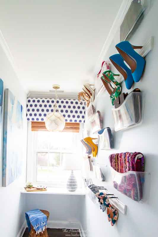 DIY wall mounted shoe rack for storing high heels. full tutorial.
