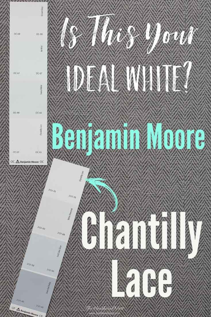 A Review of Chantilly Lace from Benjamin Moore. Is this the perfect white paint color for your home? Here are pictures from real homes and more info about this white paint color to help you decide. #chantillylace #benmoore #benjaminmoore #chantillylacebenjaminmoore #whitepaint #bestwhitepaintcolor #paintcolorsbedroom #paintcolorsforlivingroom