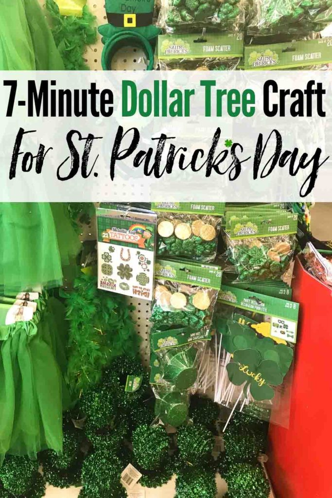 A fun and festive Dollar Tree DIY St. Patrick's Day decor craft that takes less than 10-minutes! Lucky You! #StPatricksDay #StPatricksDayDecor #StPatricksDayDIYDecor #DollarTree #DollarTreeStPatricksDayDecor #StPatricksDayDollarStore #StPatricksDayTree #StPatricksDayDecorationIdeas