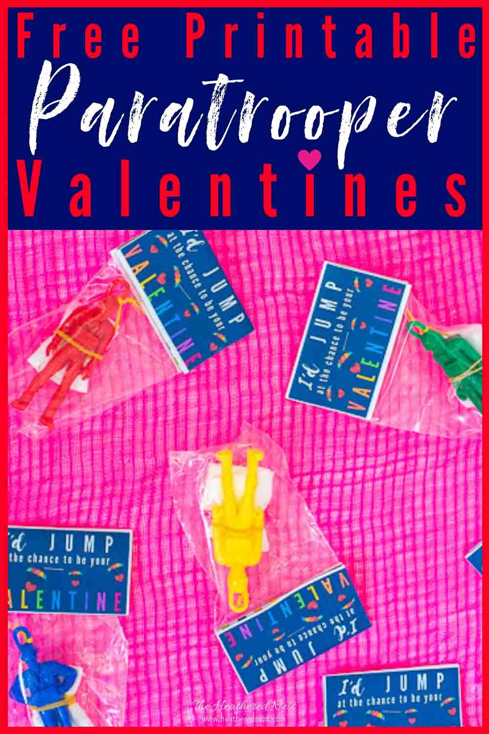 Free Printable Paratrooper Valentines for Kids! These parachuting soldier toys are fun and great for school Valentine parties with a no-candy rule! #freeprintablevalentines #valentinesforboysideas #freeprintablevalentineideas #nocandyvalentines #noncandyvalentines #valentinesforkidsideas #schoolvalentinesideas #freeprintablevalentinesideas #boysvalentinesideas #parachute #paratroopervalentines #parachutevalentines #coolvalentinesforkids #valentineideasforkids