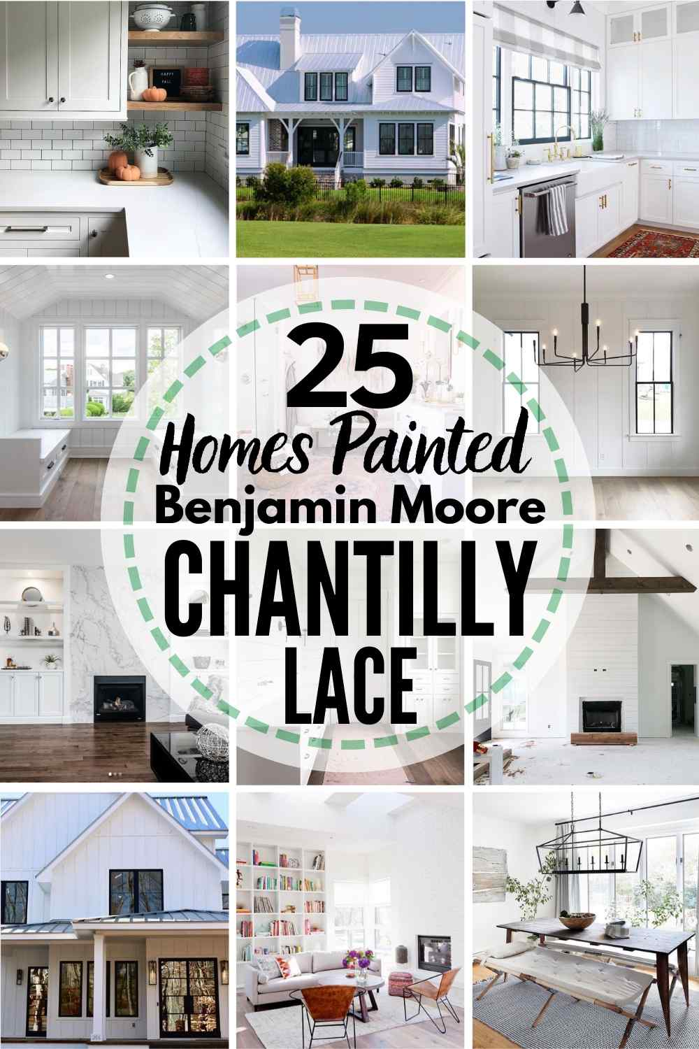 "grid with 15 rooms each painted Stonington Gray, text overlay ""25 homes painted Benjamin Moore Chantilly Lace"""