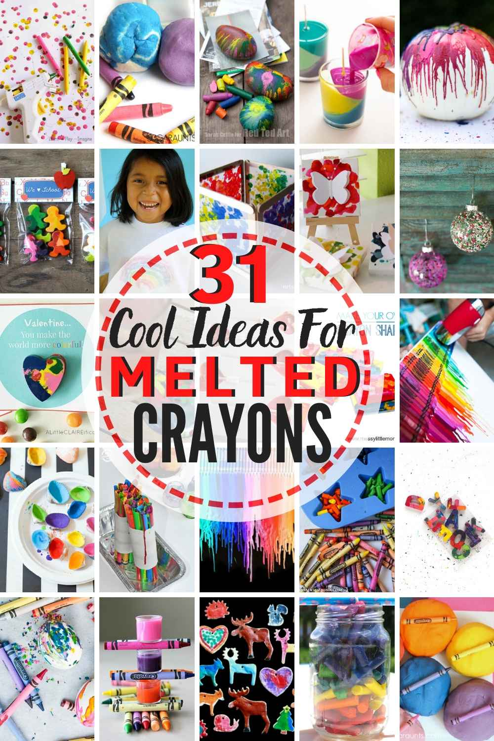 31 AWESOME Ideas For Melted Crayons!! If you have a bunch of melted Crayon Art & Craft Ideas To Try! Fun DIY Crayon Ideas For Everyone!
