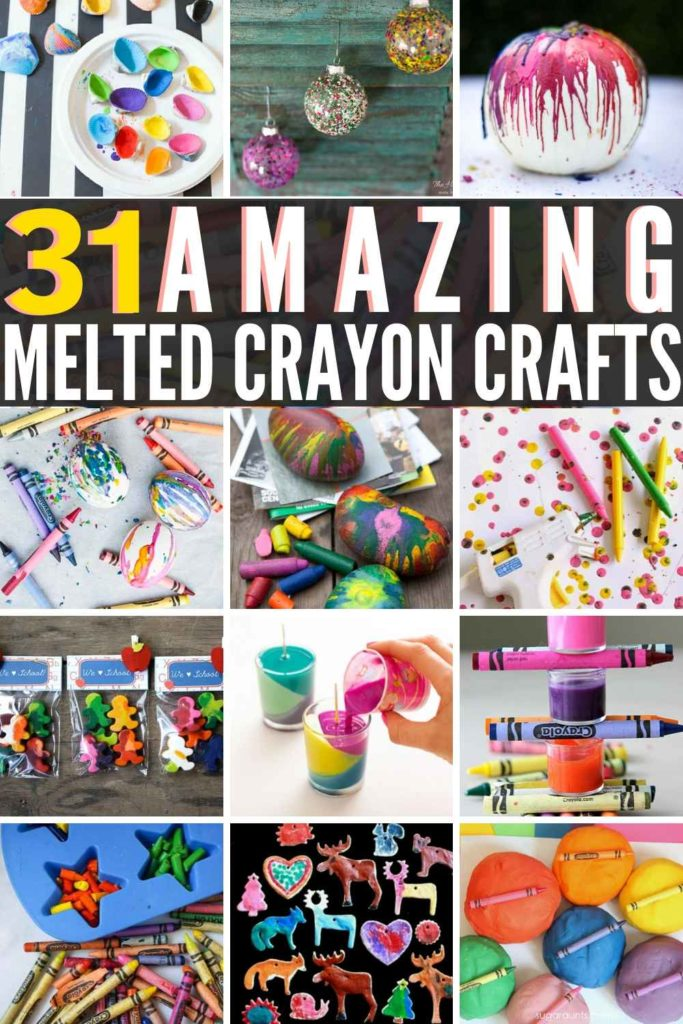 31 AWESOME Ideas For Melted Crayons!! If you have a bunch of old, broken crayons around the house, then check out these Art & Craft Ideas To Try!