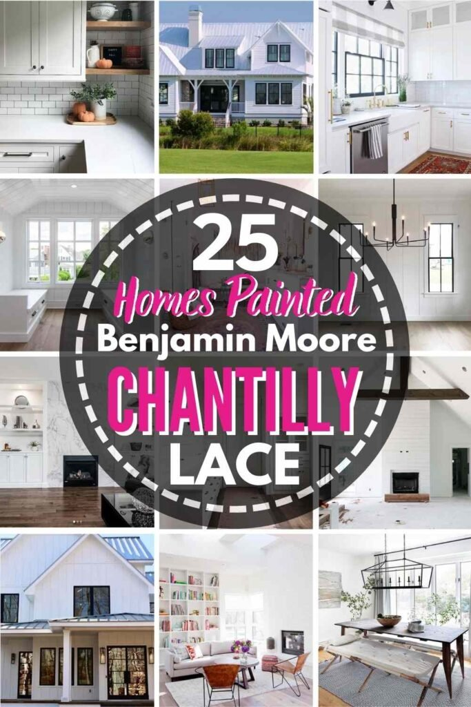 """grid with 15 rooms each painted Stonington Gray, text overlay """"25 homes painted Benjamin Moore Chantilly Lace"""""""