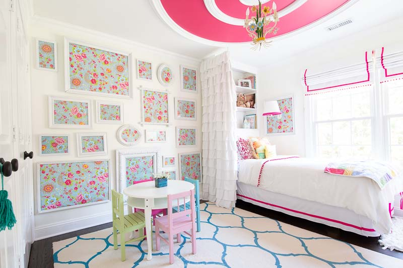 Tour 15 Colorful Homes in this spring colorful home tour! Our daughter's pink and turquoise bedroom with fuchsia ceiling detail, vintage tole chandelier and trellis rug