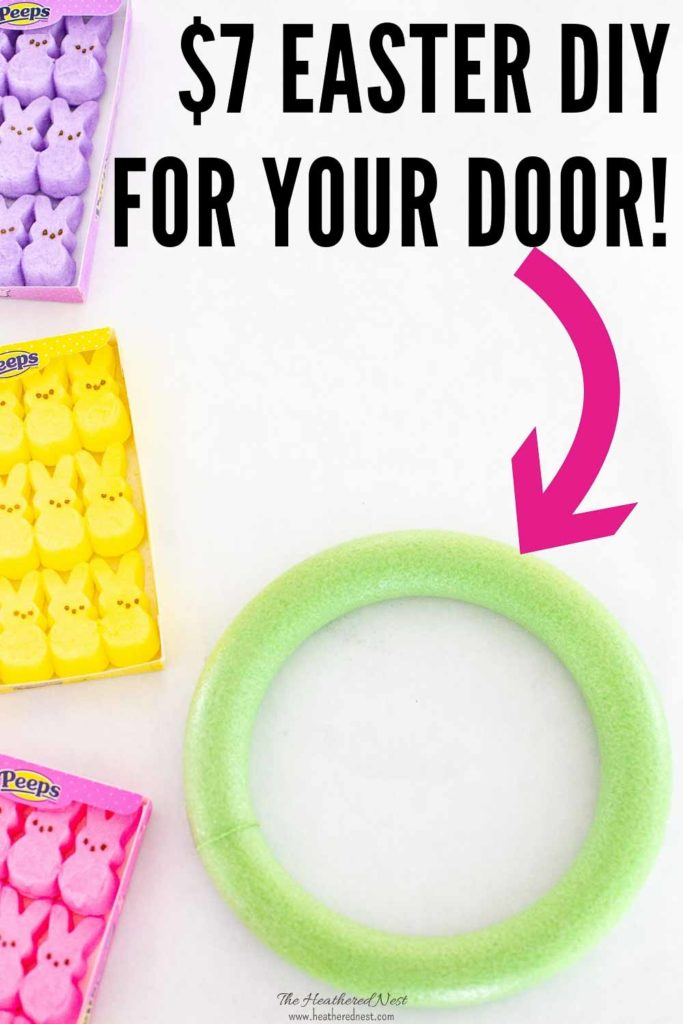BEST Spring 🐥Wreath Idea 💕! You can make a DIY spring marshmallow Peeps Wreath for $7, and it takes about 15-minutes! Such a fun, colorful Easter wreath idea for your spring decorating. #easterwreath #springwreath #peepswreath #marshmallowpeepswreath #peepscrafts #DIYspringwreathideas #DIYeasterwreathideas #colorfulwreathideas #howtomakeapeepswreath #cheapspringwreathideas #cheapeasterwreathideas #dollartreespringdecoratingideas #dollartreeeastercrafts #dollartreespringcrafts #DIY #spring