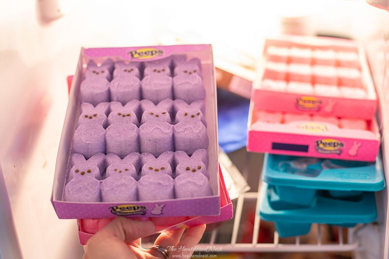 DIY tip for this easy marshmallow peeps wreath project: freeze the Peeps to make them easier to work with!