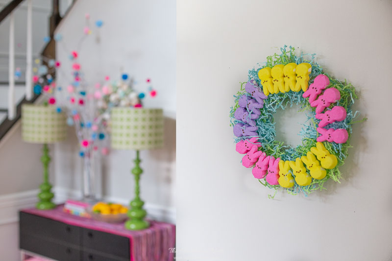 Simple DIY Easter marshmallow Peeps wreath hung in foyer. An easy spring craft idea!