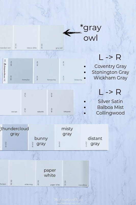Gray Owl Benjamin Moore compared with other popular gray paints including swatches for Coventry Gray, Stonington Gray, Wickham Gray, Silver Satin, Balboa Mist, Collingswood, Thundercloud Gray, Bunny Gray, Misty Gray, Distant Gray and Paper White by Benjamin Moore