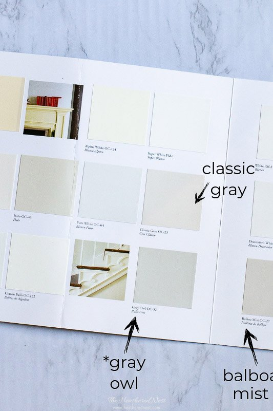 Popular paint swatches of Benjamin Moore paints including Classic Gray, Gray Owl and others