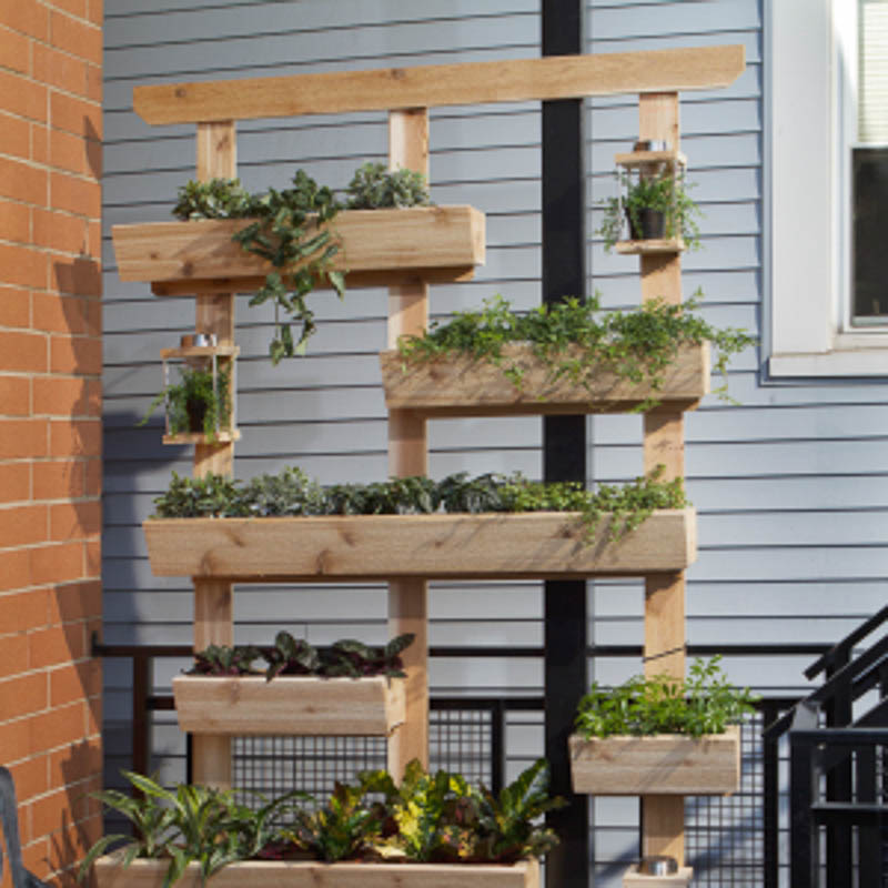 Small vertical garden on a balcony serves as privacy screening plus a kitchen garden. This one is wood construction with mostly trough style planters plus several shelves for potted plants.