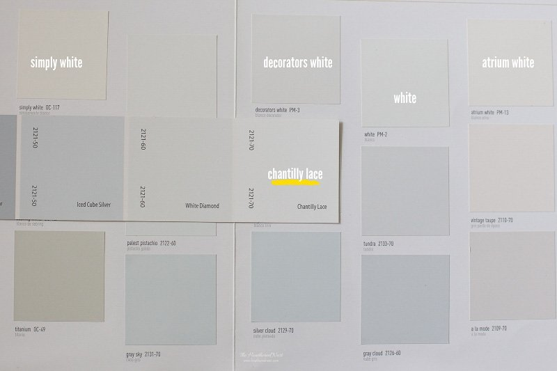 Benjamin Moore Chantilly Lace paint chip with other popular whites from Ben Moore including simply white, decorators white, white, and atrium white