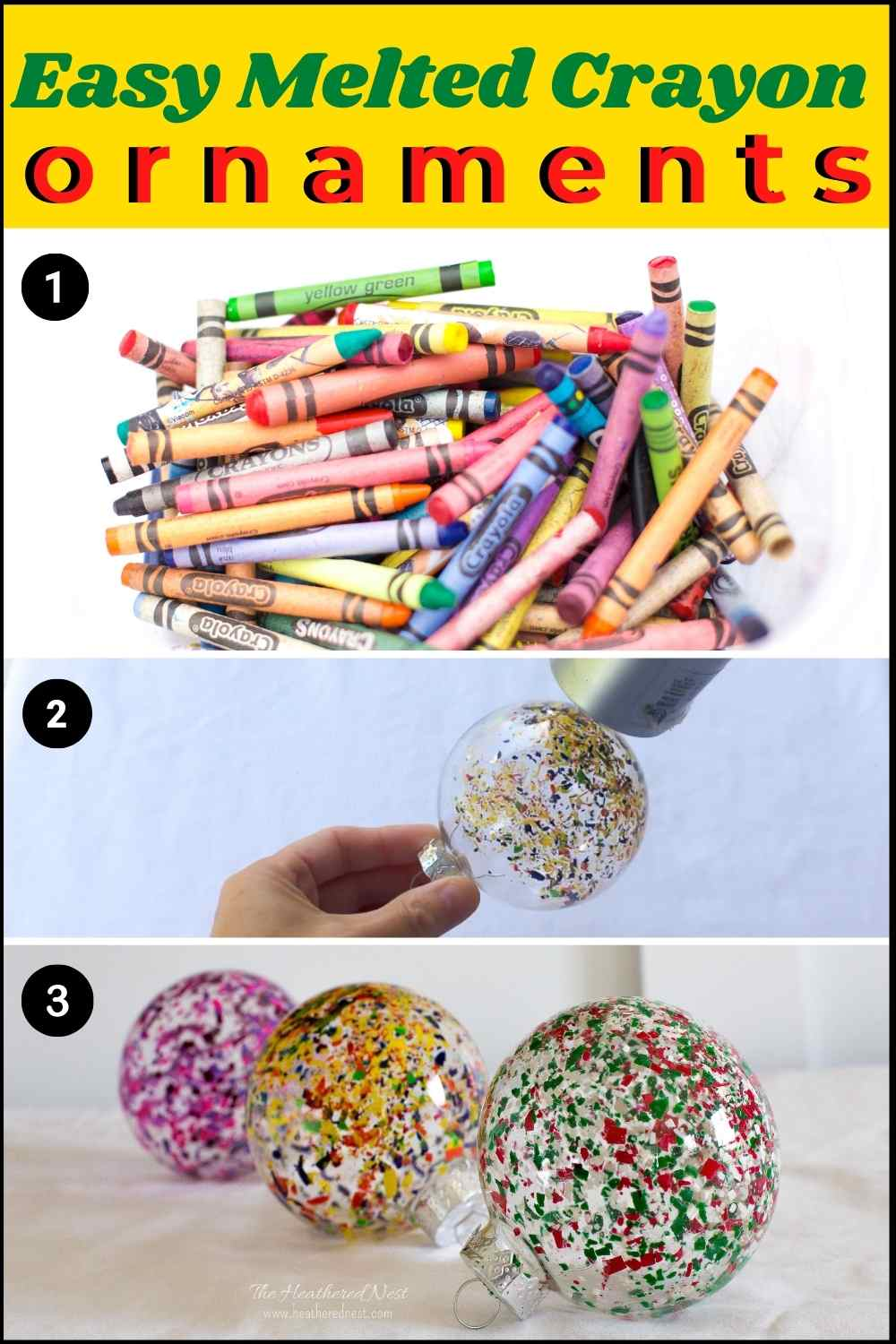 Easy, Colorful DIY Melted Crayon Christmas Ornament Craft!